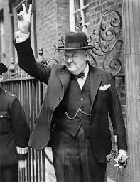 Winston Churchill gives sign for victory