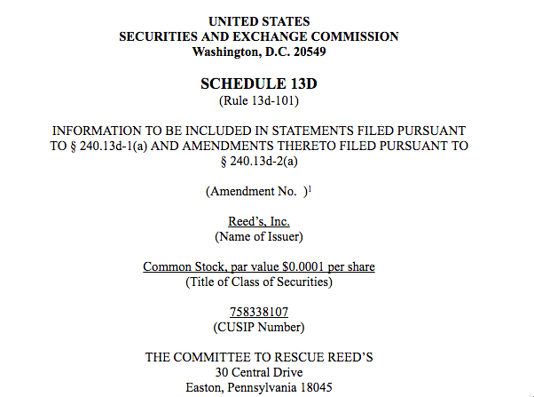 Schedule 13D Filed by the Committee to Rescue Reed's