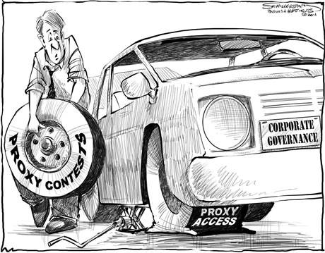 First Proxy Access -Cartoon from Pensions & Investments