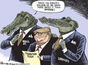 Kevin Siers cartoon on Trump Draining the Swamp