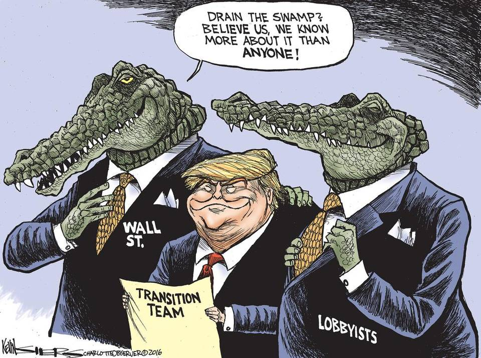Kevin Siers cartoon on Trump Draining the Swamp