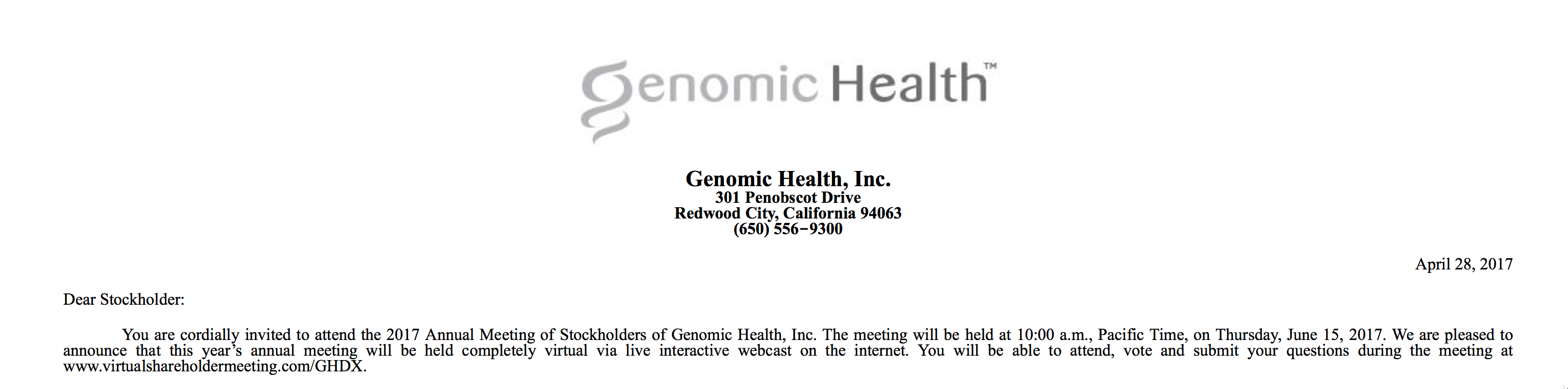 Genomic Health proxy 2017