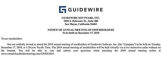 Guidewire Software 2019