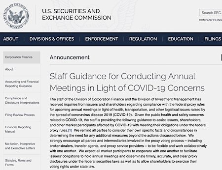 SEC Staff COVID-19 Guidance