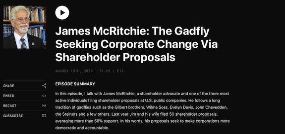 Boardroom Governance with Evan Epstein interviews James McRitchie