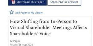 Experiences at Virtual Shareholder Meetings